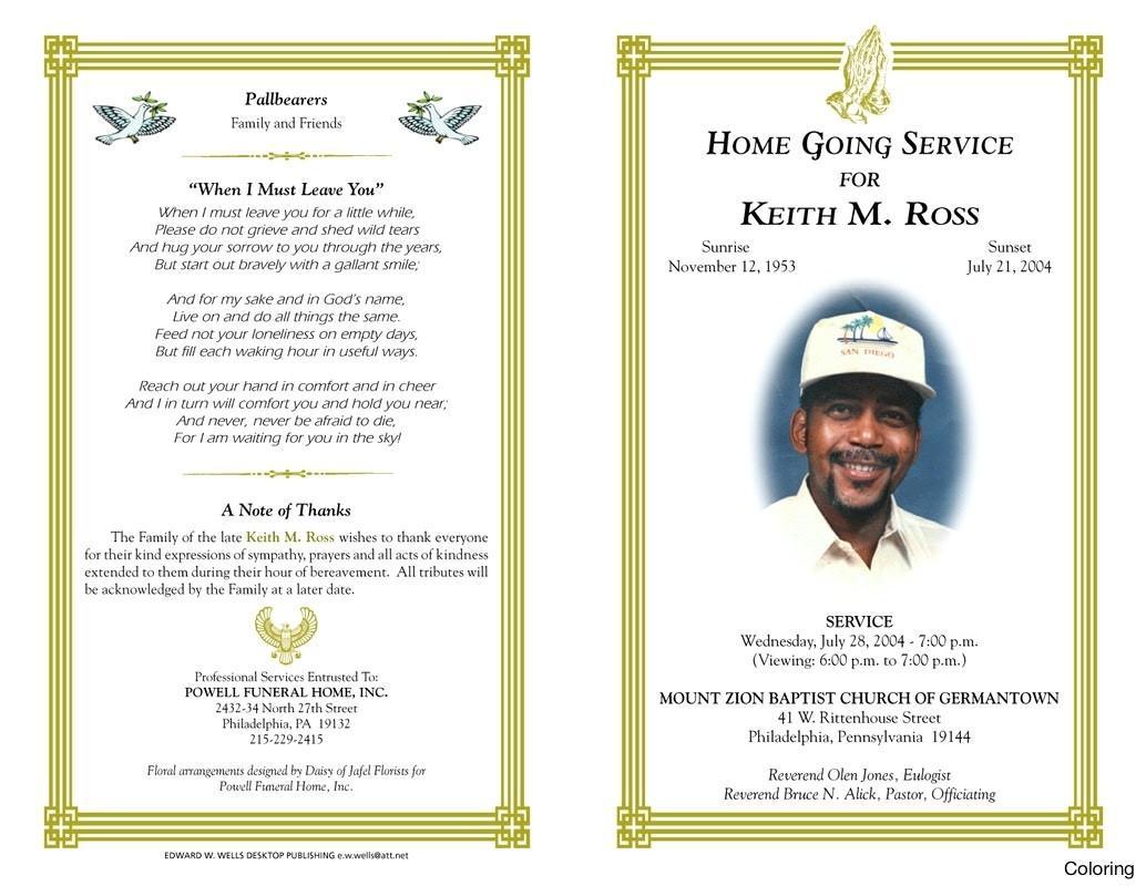 Free Funeral Program Template Printable