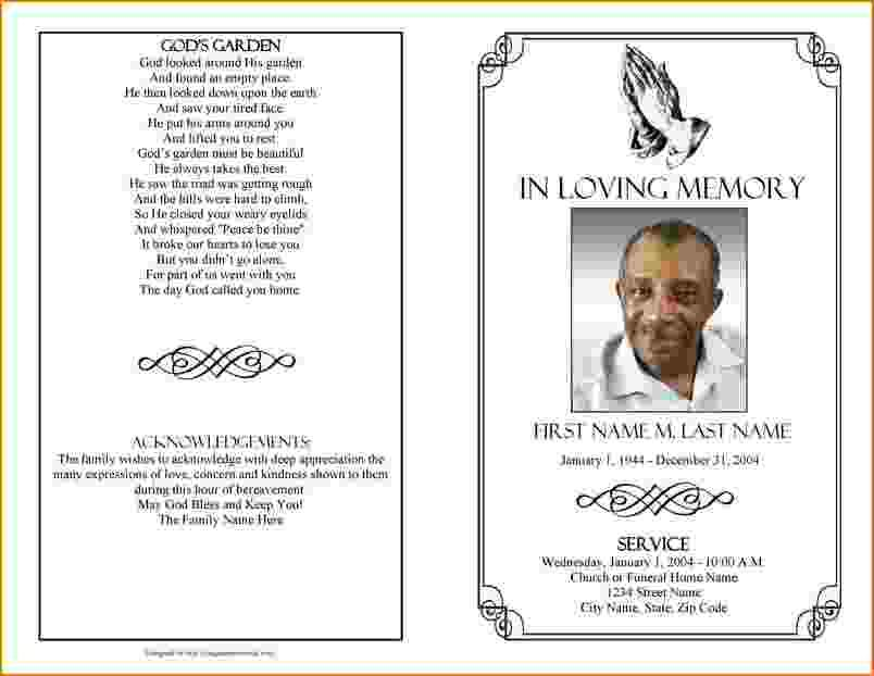 Free Funeral Program Templates For Microsoft Word
