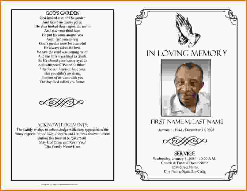 Free Funeral Program Templates Word