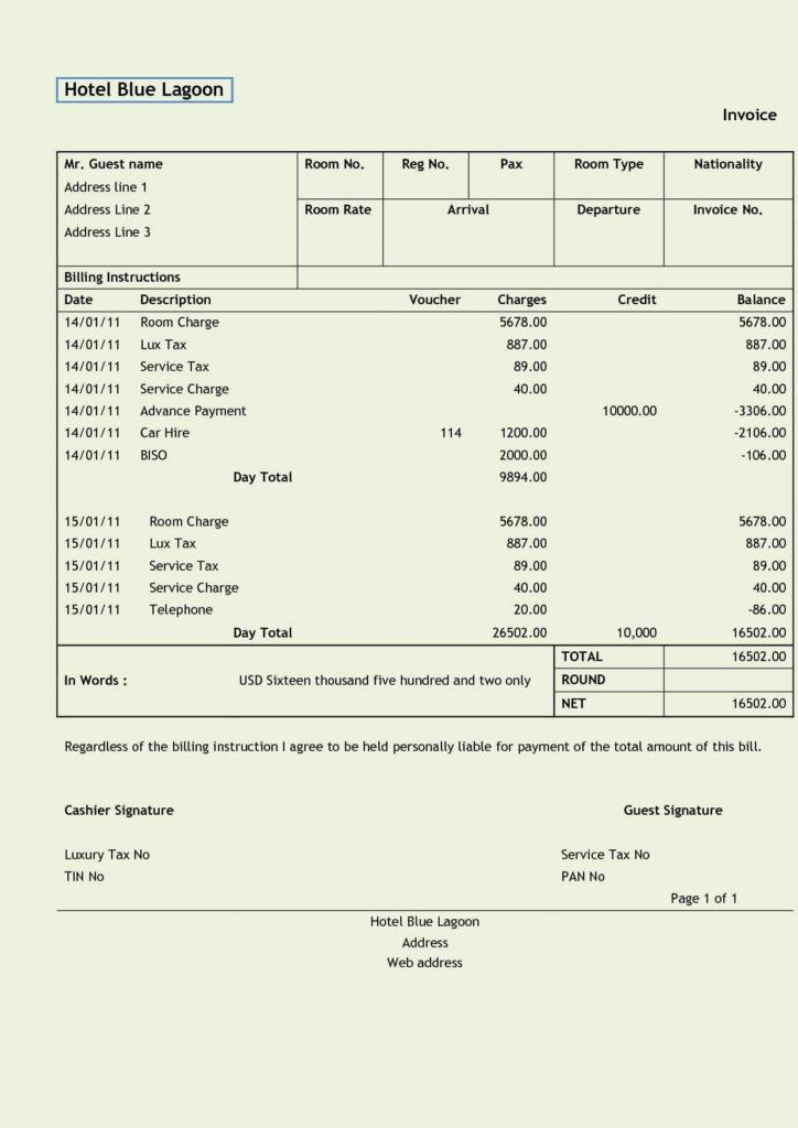 Free Garage Invoice Template Uk