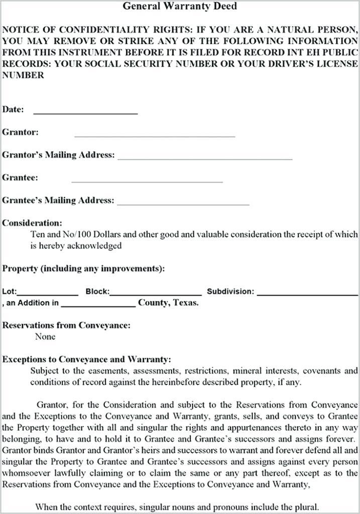 Free General Warranty Deed Template