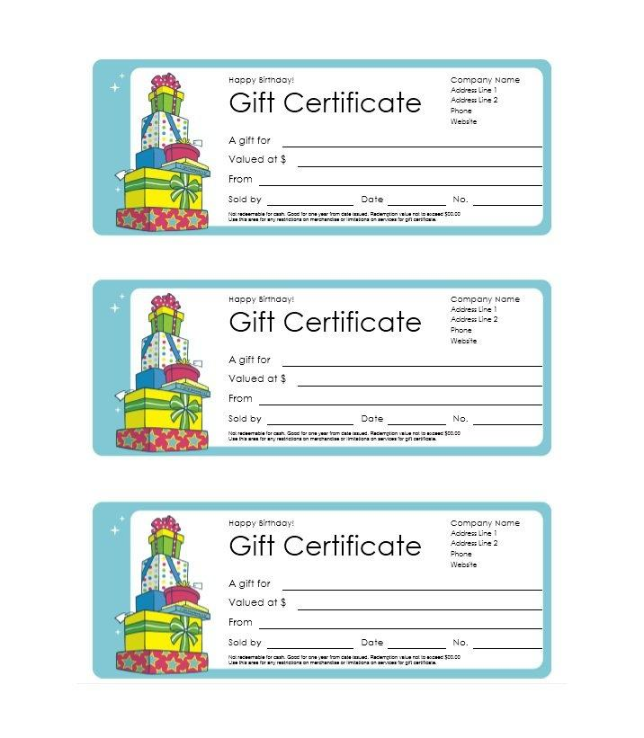Free Gift Certificates Templates