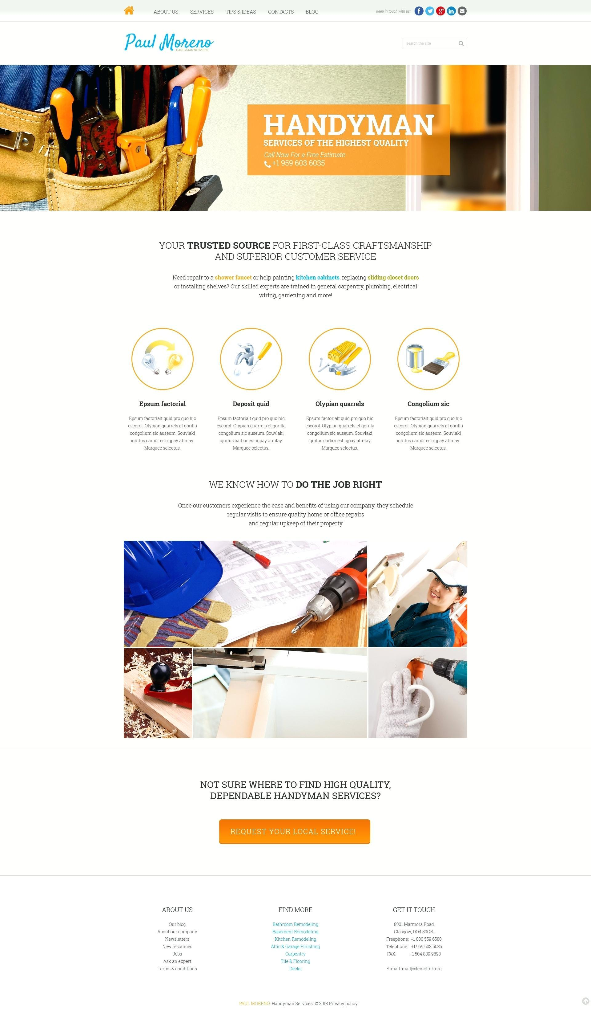 Free Handyman Website Template WordPress