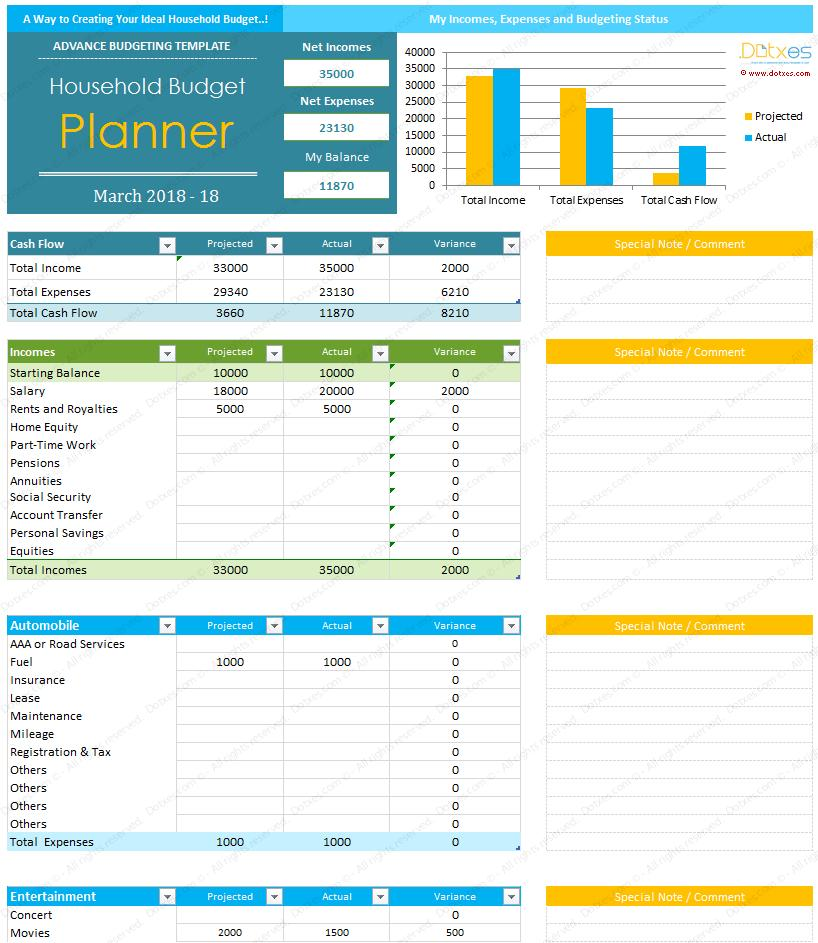 Free Home Budget Template Excel