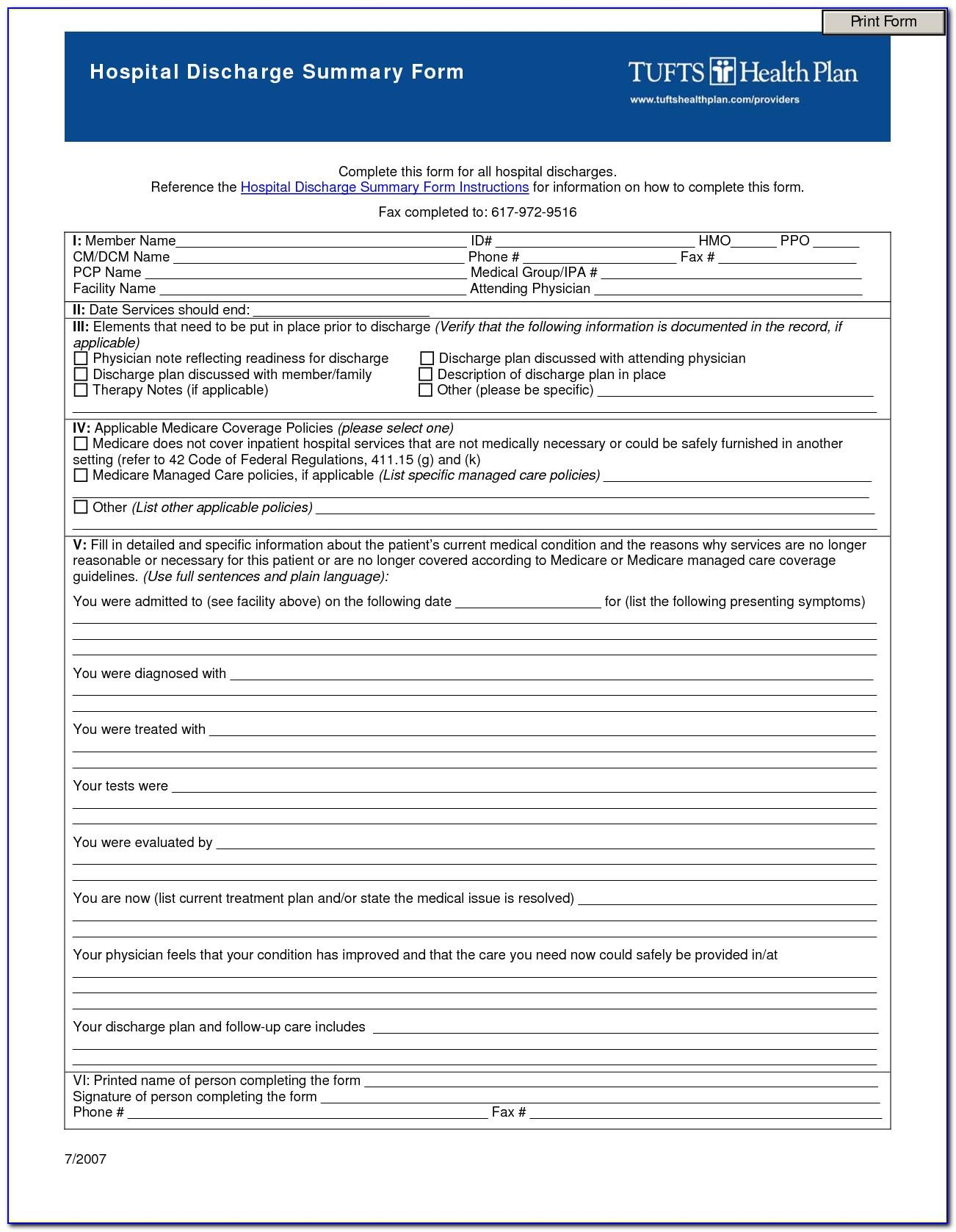 Free Hospital Discharge Form Template
