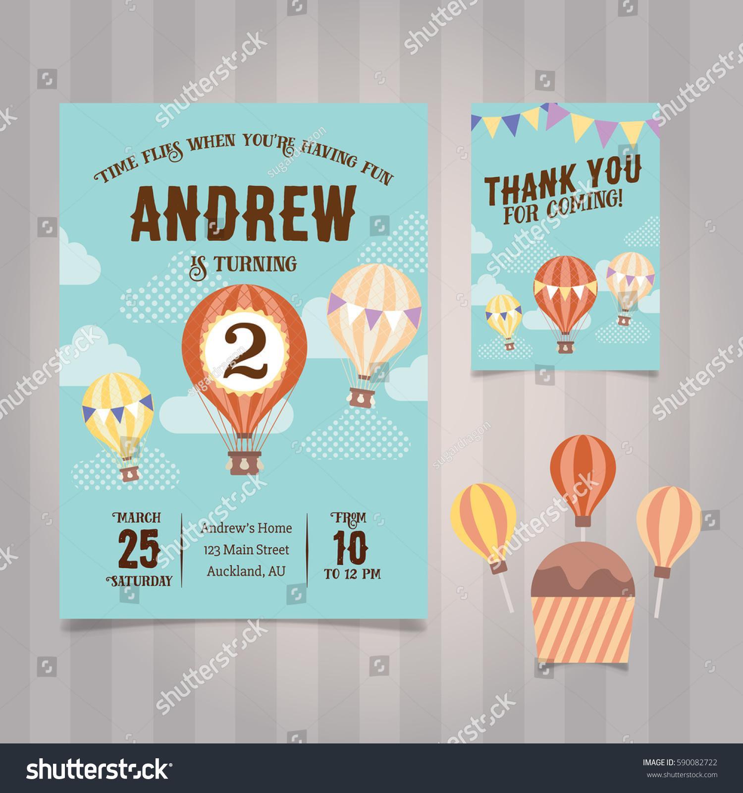 Free Hot Air Balloon Birthday Invitation Template