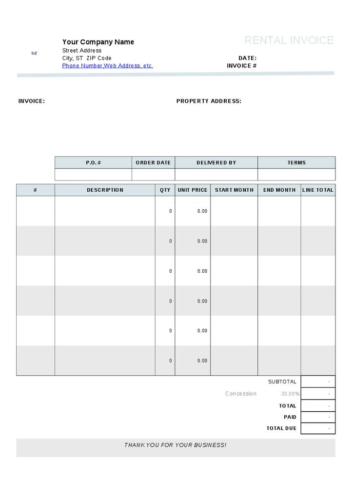 Free House Rental Invoice Template
