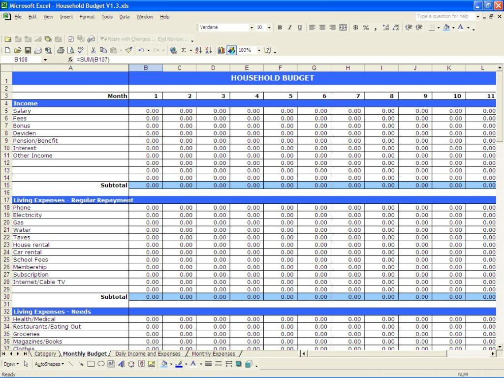 Free Household Budget Excel Spreadsheet Template