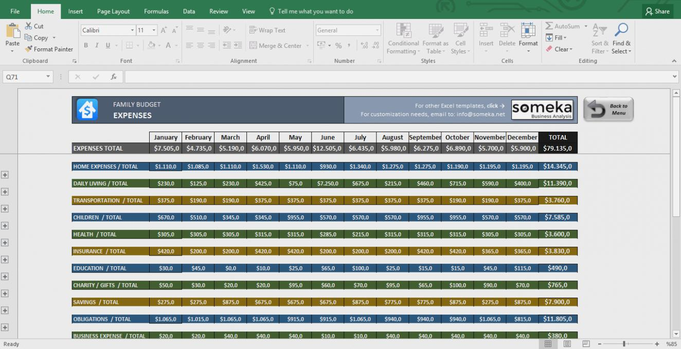 Free Household Budget Forms Excel