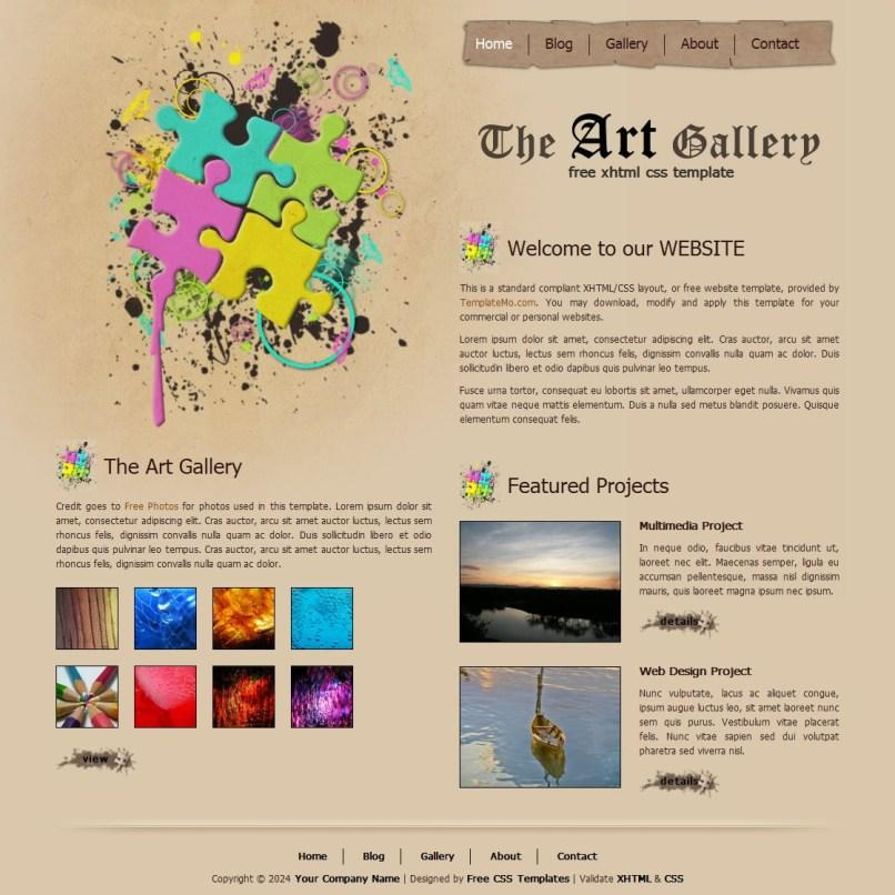Free Html Art Gallery Website Templates