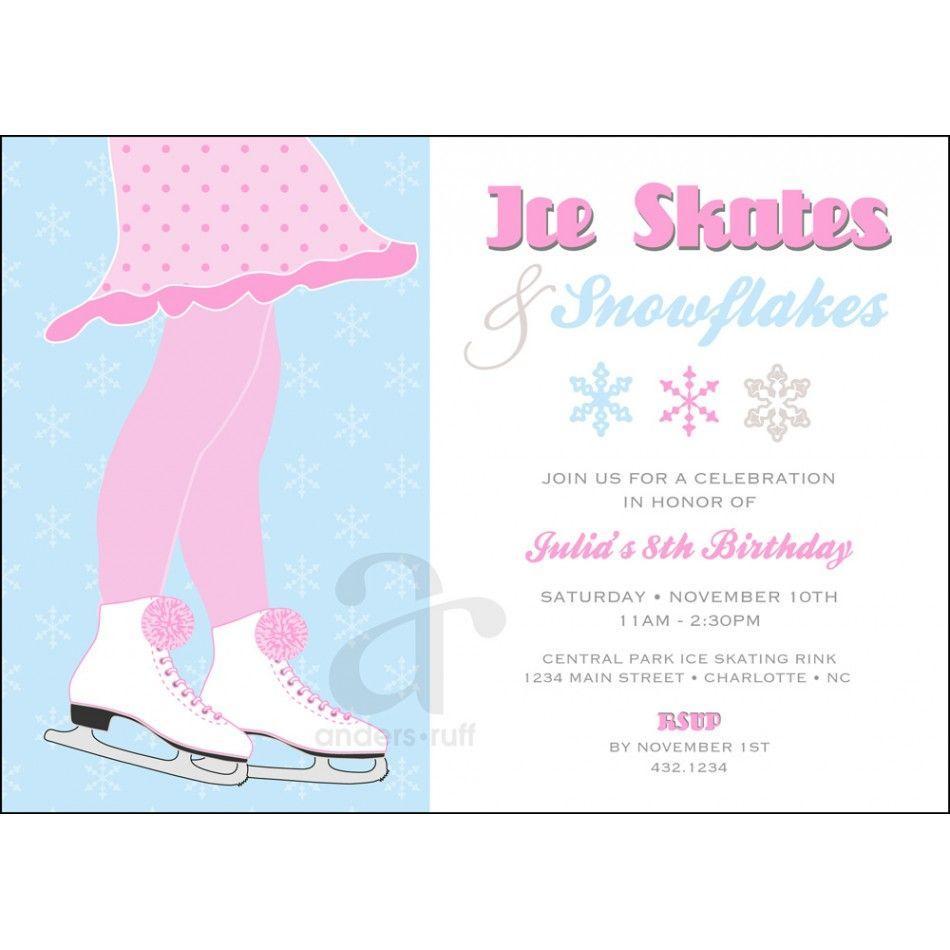 Free Ice Skating Birthday Party Invitation Template
