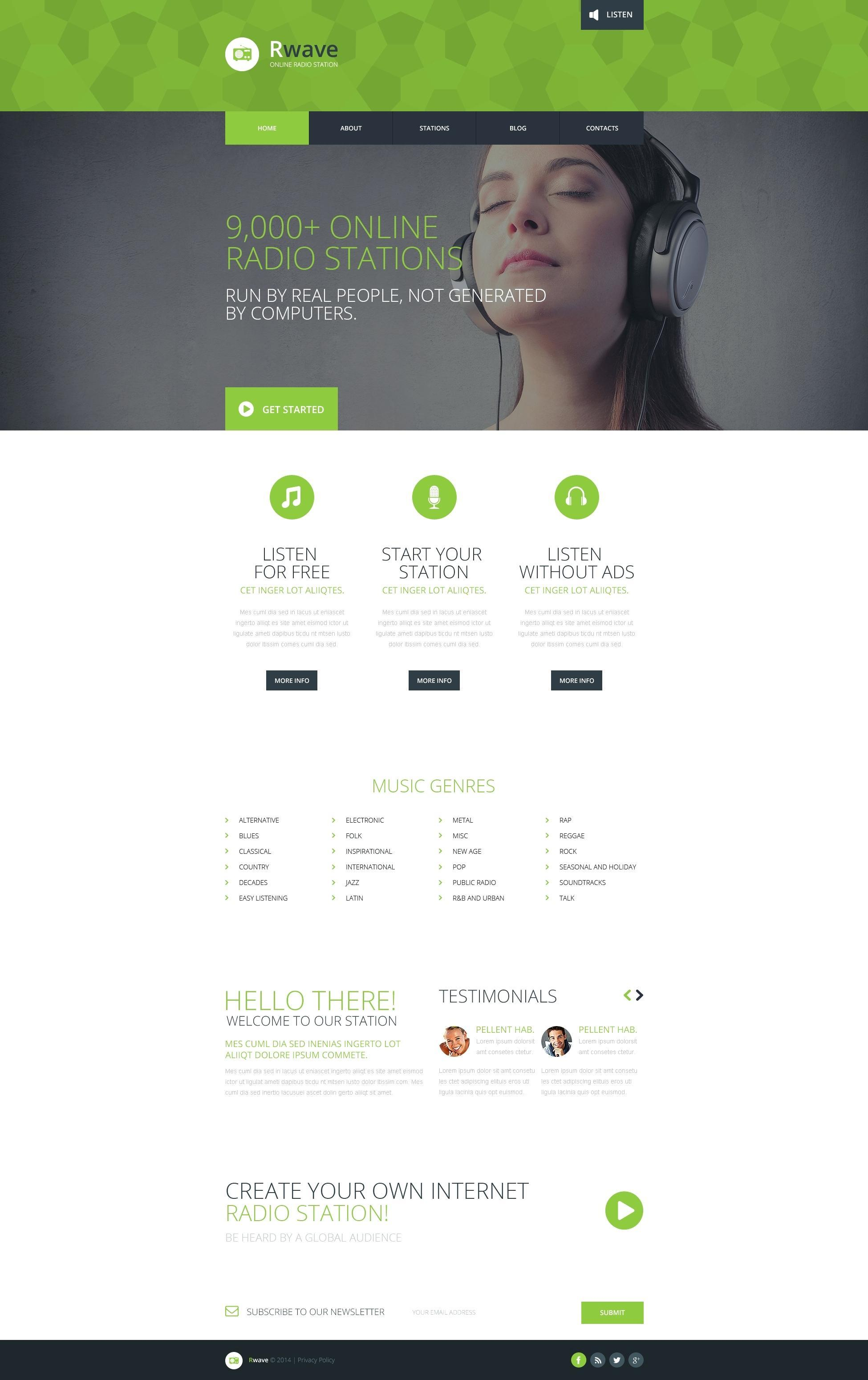 Free Internet Radio Station Website Template WordPress