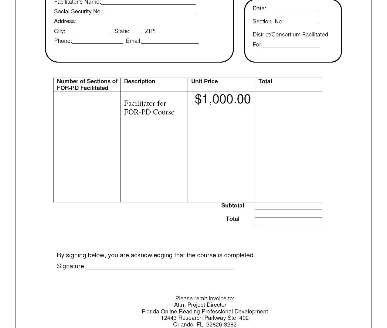 Free Invoice Template Download Wordpad