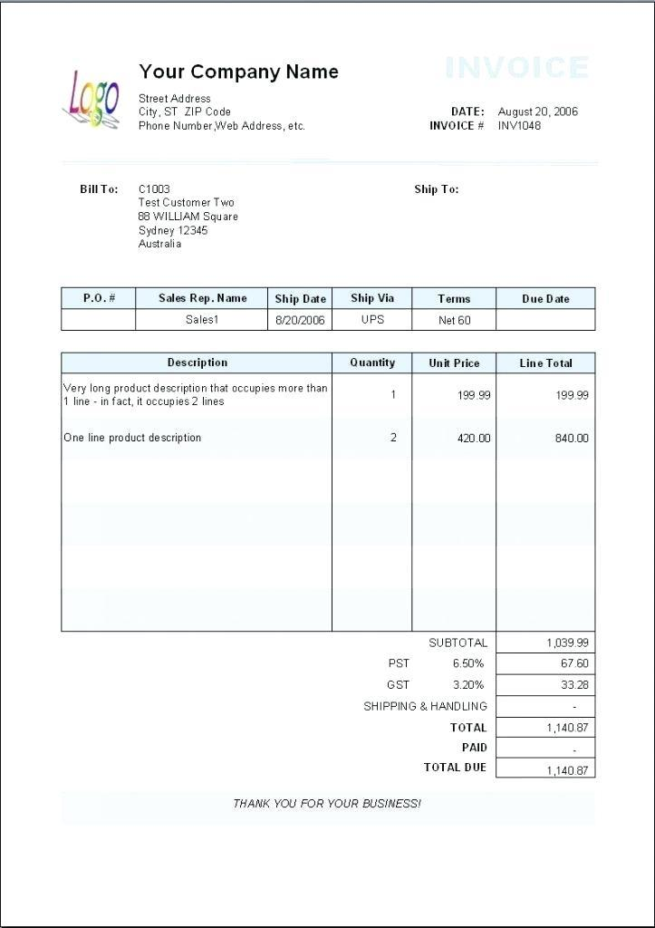 Free Invoice Template Mac Pages