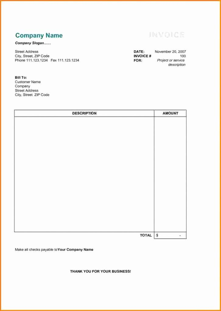 Free Invoice Template Word 2007