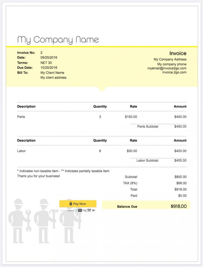 Free Invoicing Templates For Excel
