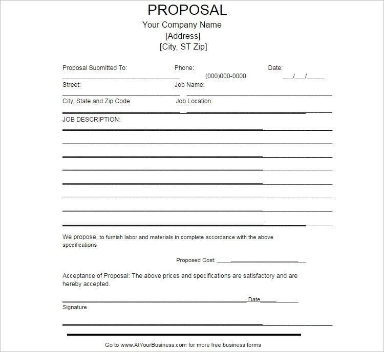 Free Job Proposal Template Word
