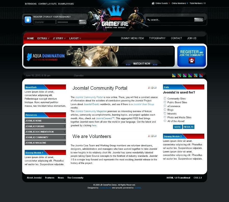 Free Joomla Gaming Clan Templates