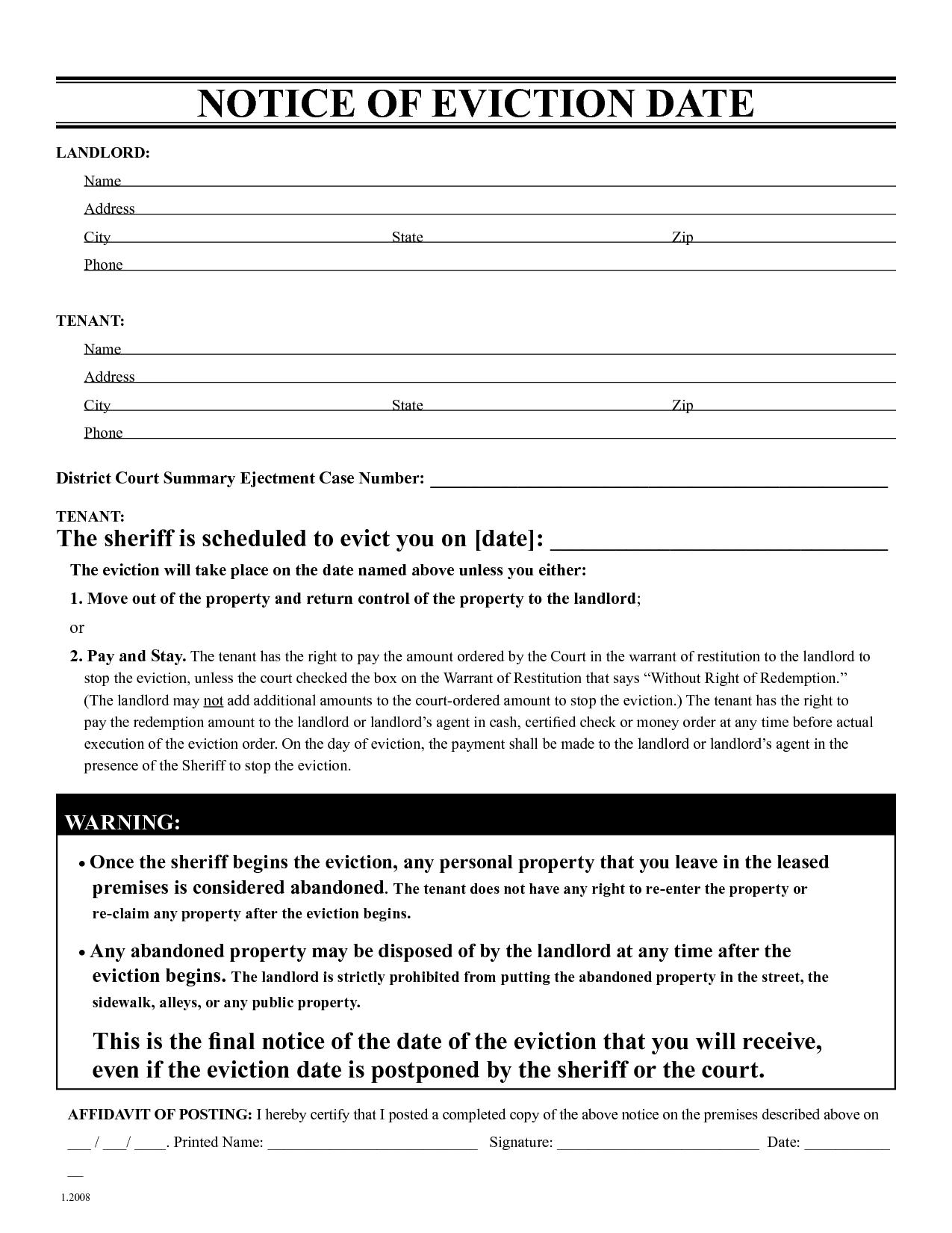 Free Landlord Eviction Notice Template