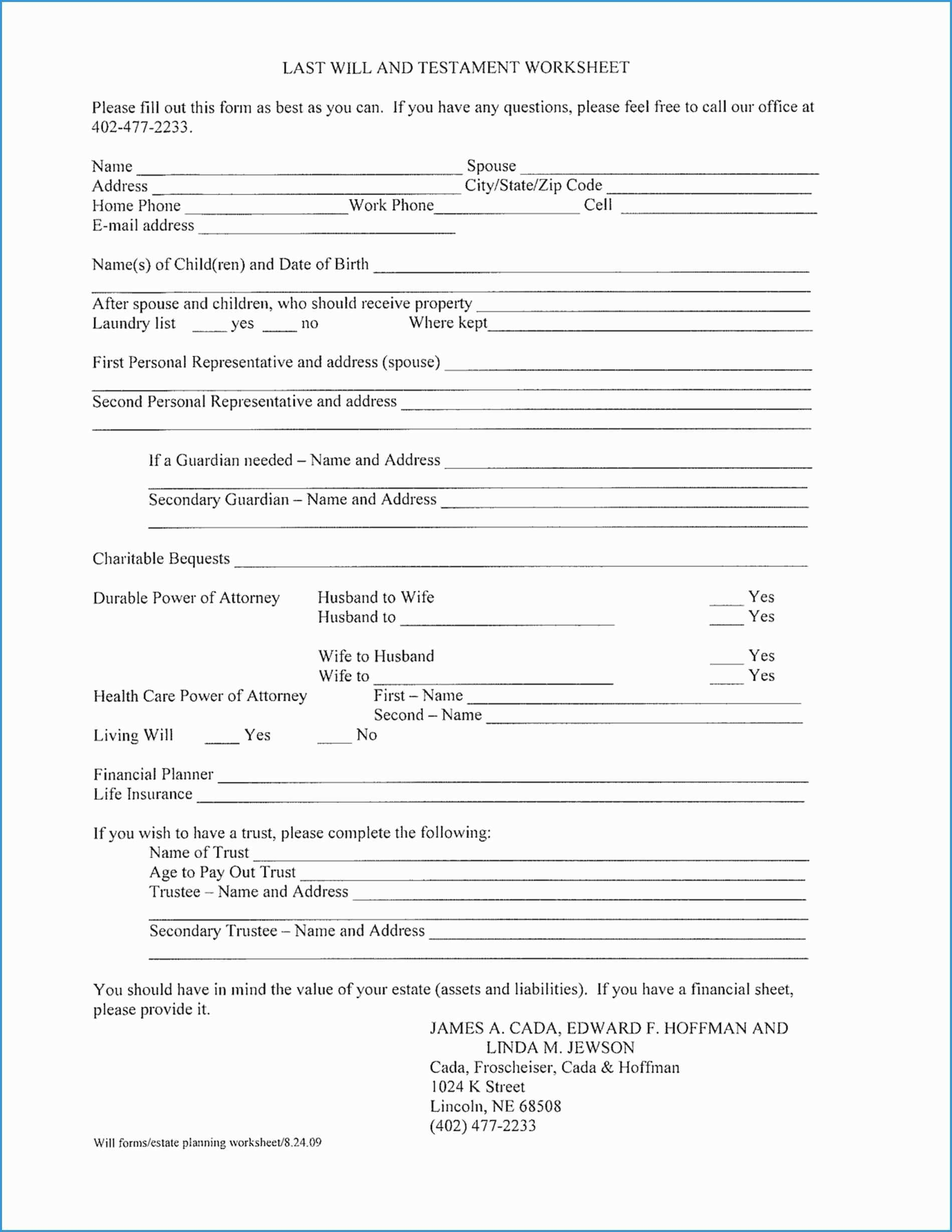Free Last Will And Testament Template Texas