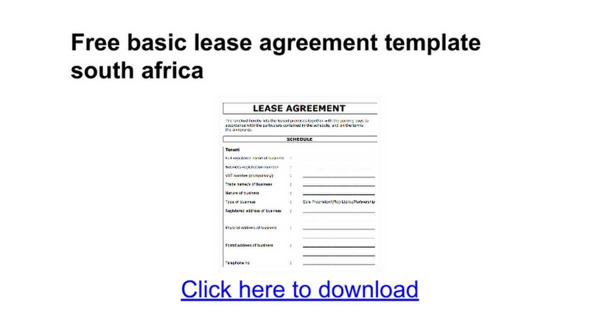 Free Lease Agreement Template South Africa