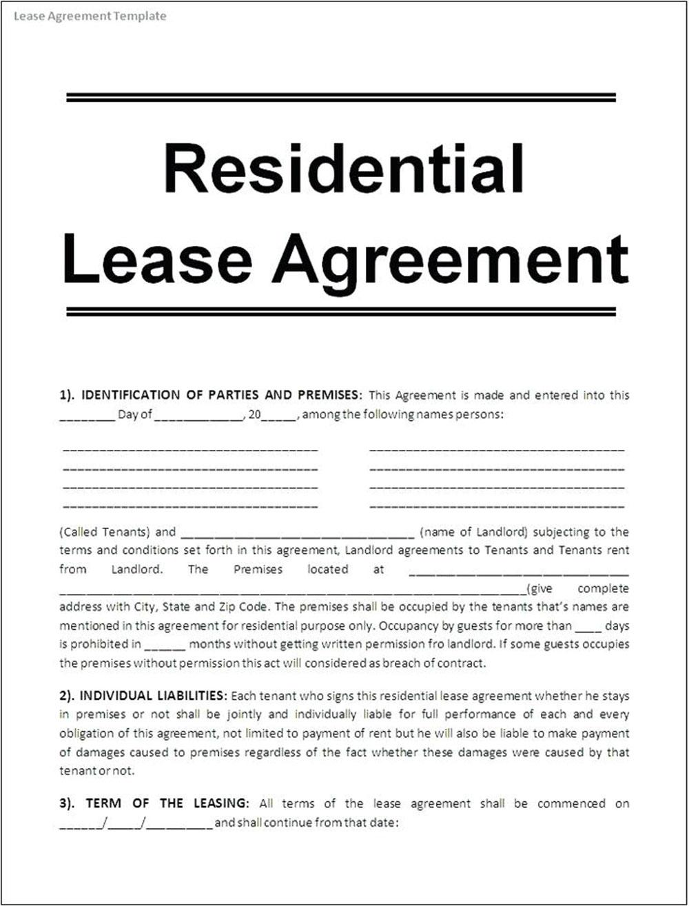 Free Lease Template Word