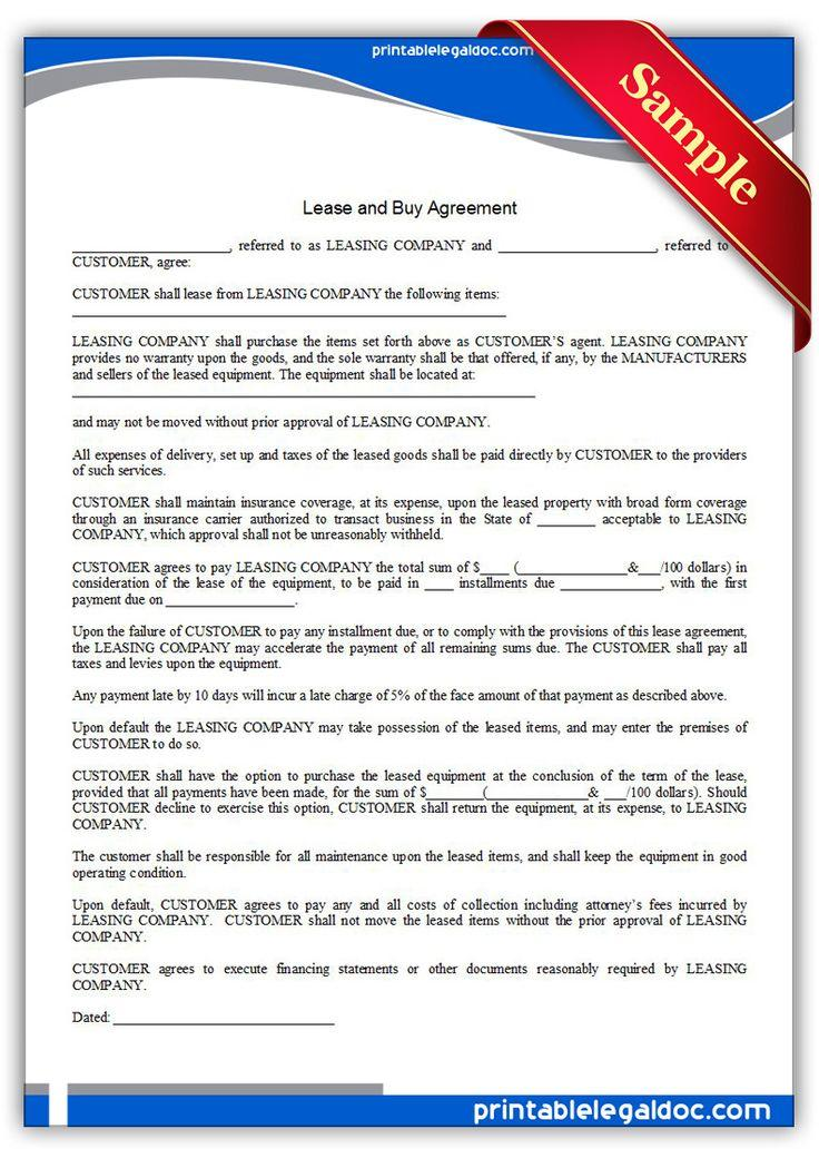 Free Lease With Option To Buy Agreement Forms