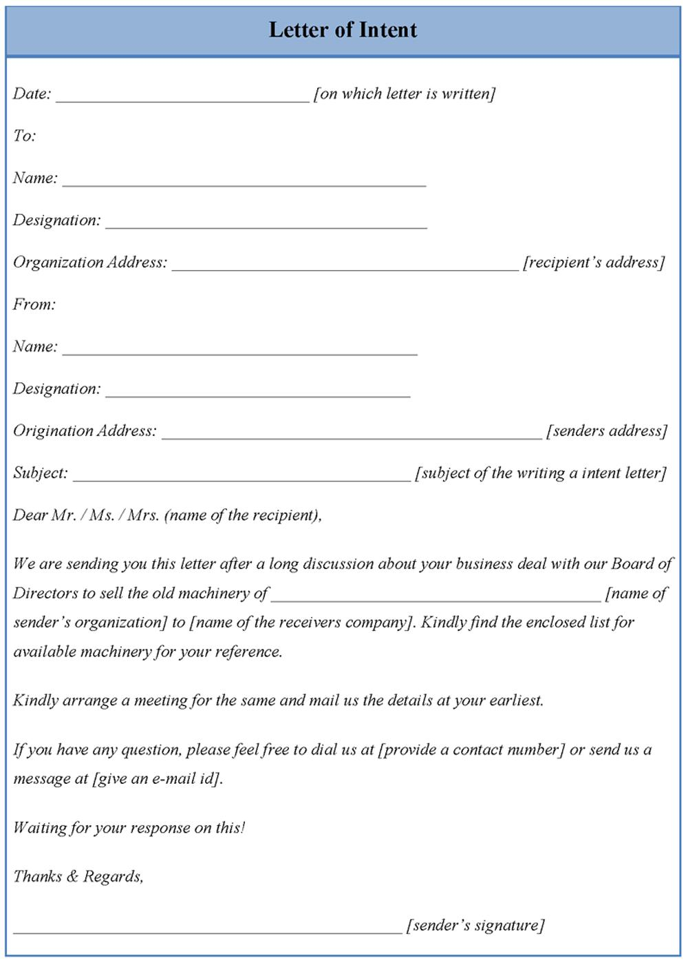 Free Letter Of Intent Template