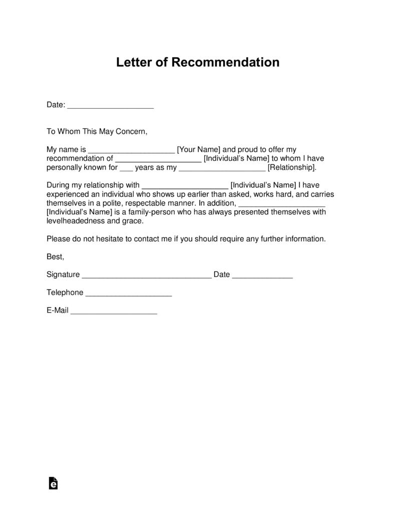 Free Letter Of Recommendation Templates