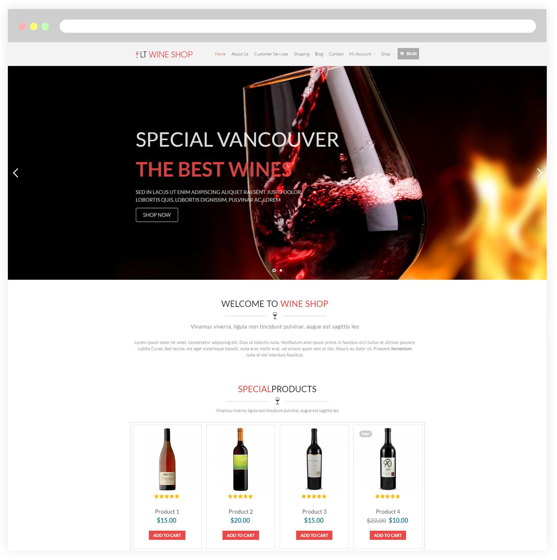 Free Liquor Store Website Template