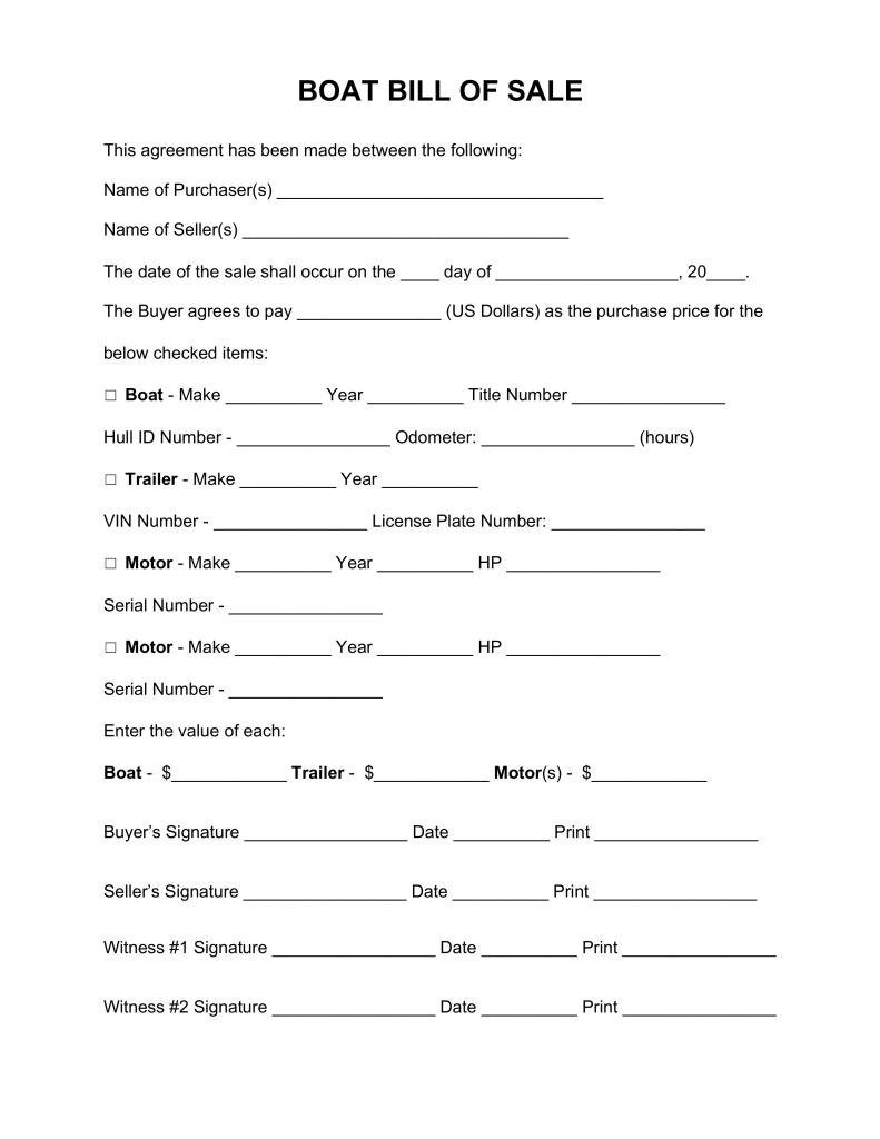 Free Maine Bill Of Sale Template