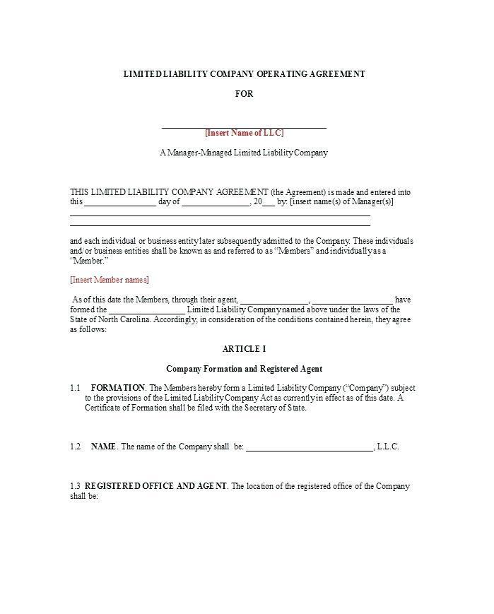 Free Manager Managed Llc Operating Agreement Template