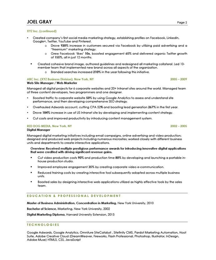 Free Marketing Manager Resume Samples