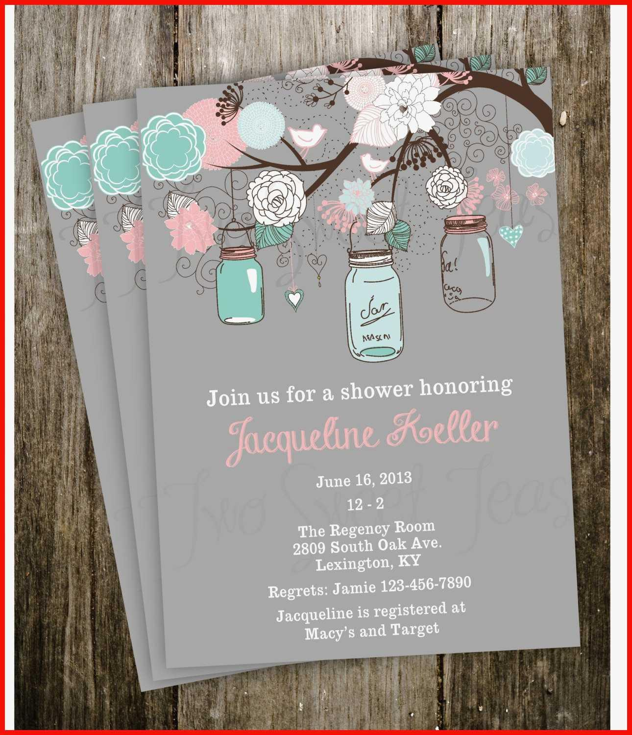 Free Mason Jar Wedding Shower Invitation Templates