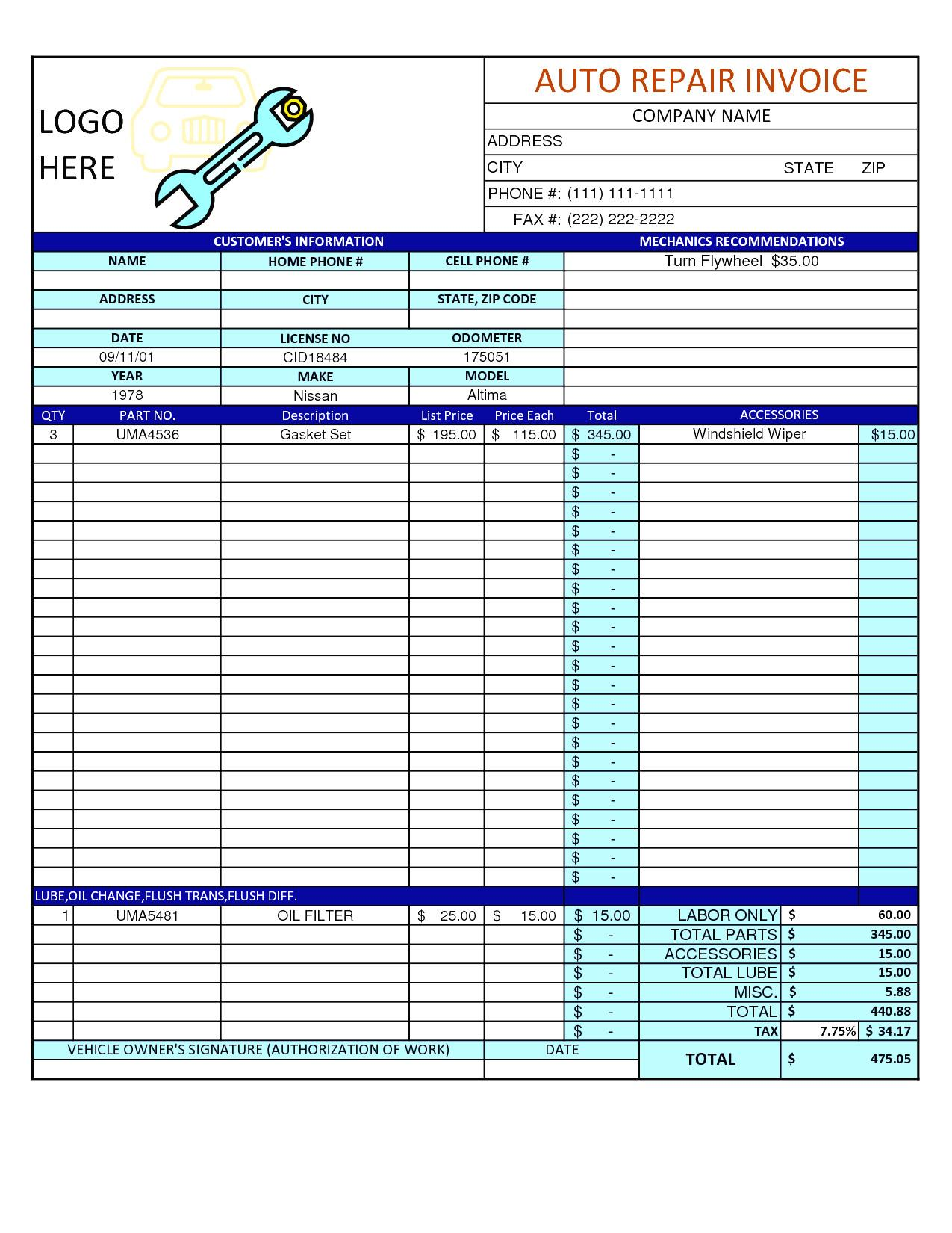 Free Mechanic Work Order Template