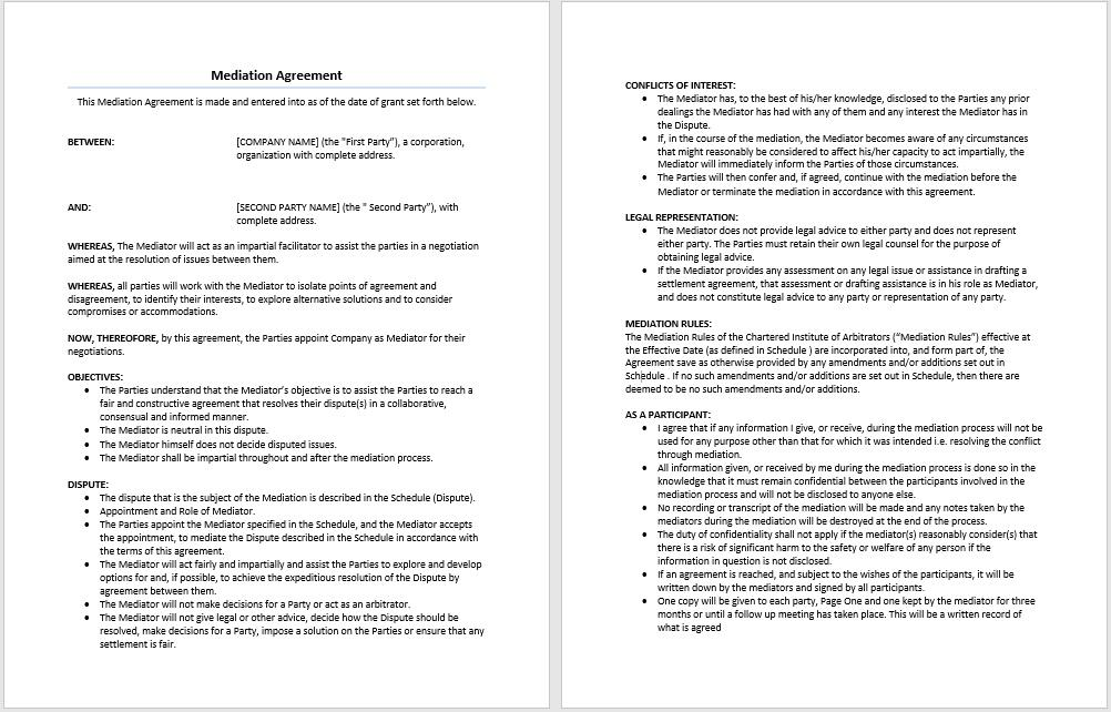 Free Mediation Agreement Template