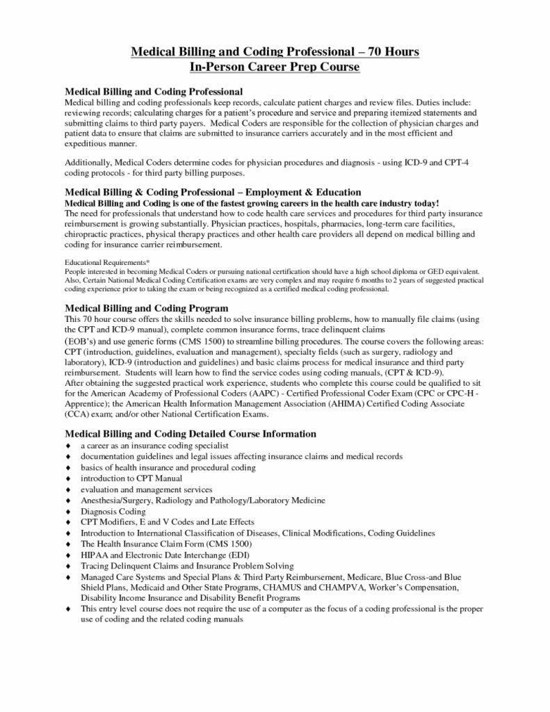 Free Medical Billing And Coding Resume Templates