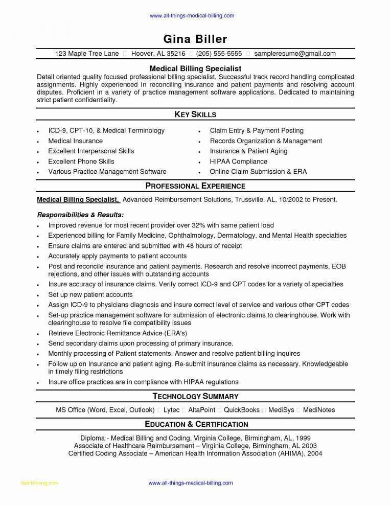 Free Medical Billing Resume Templates