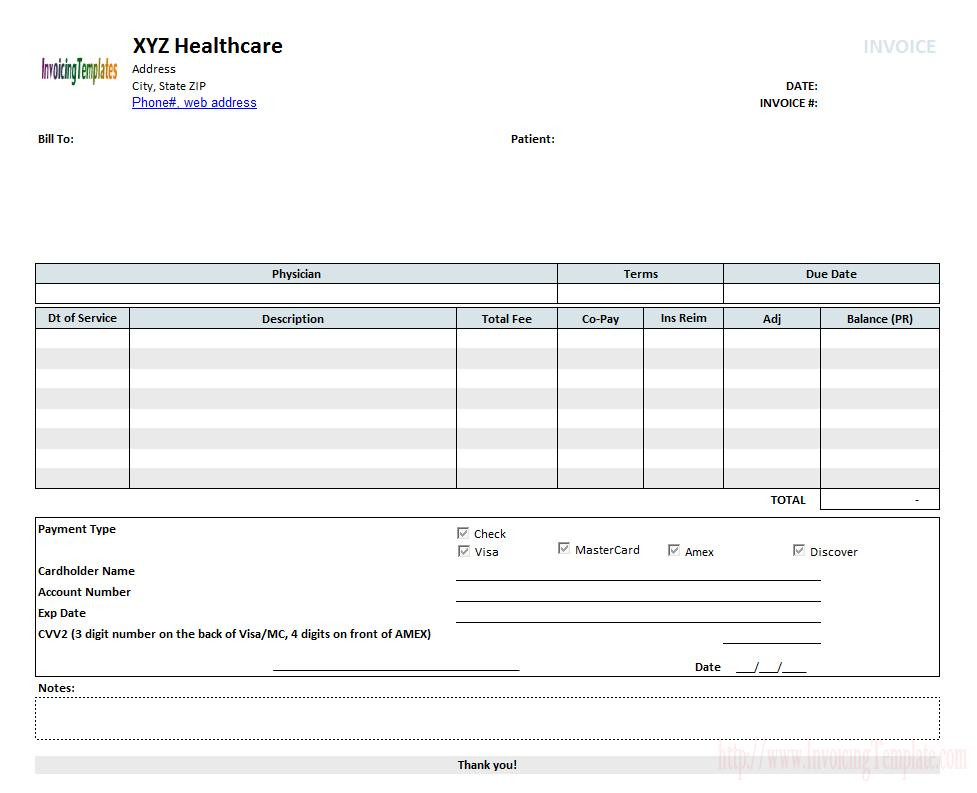 Free Medical Invoice Forms