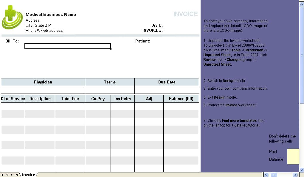 Free Medical Invoice Template Excel