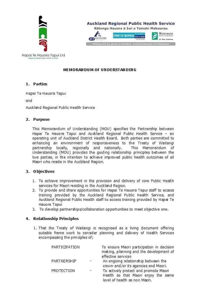 Free Memorandum Of Understanding Template Nz