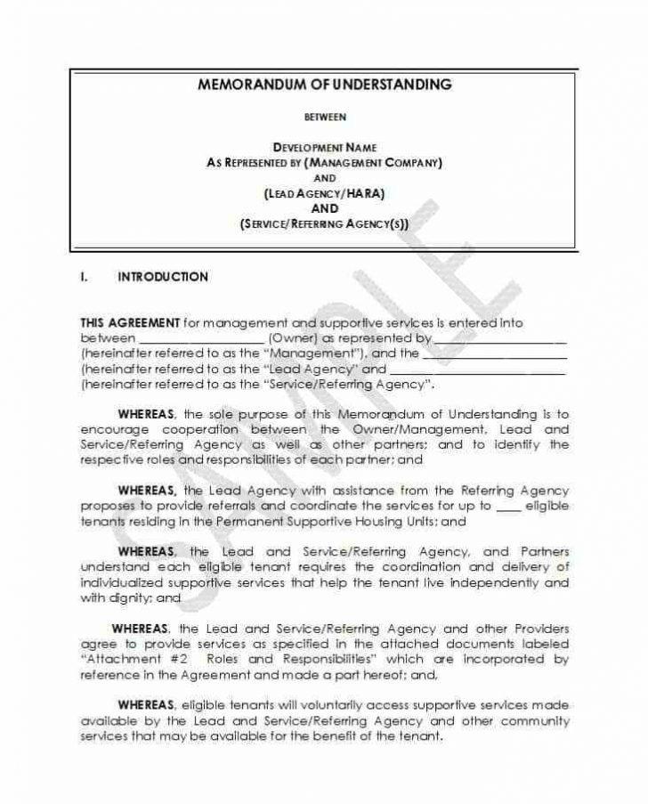 Free Memorandum Of Understanding Template Word