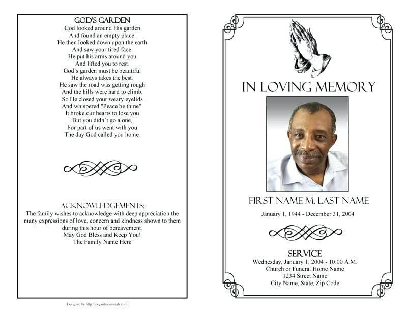 Free Memorial Service Card Template