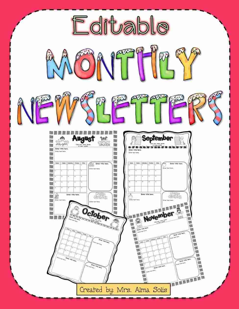 Free Monthly School Newsletter Templates