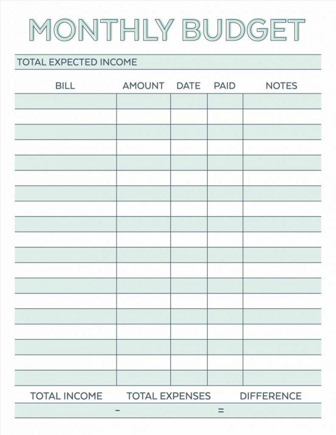 Free Monthly Spreadsheet Template