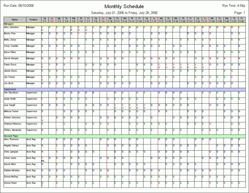 Free Monthly Staffing Schedule Template