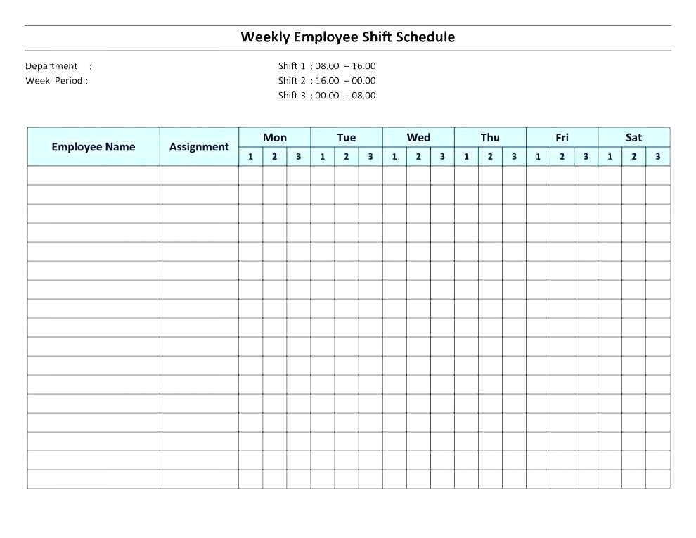 Free Monthly Work Schedule Template 2017