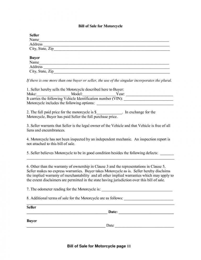 Free Motorcycle Bill Of Sale Template Word