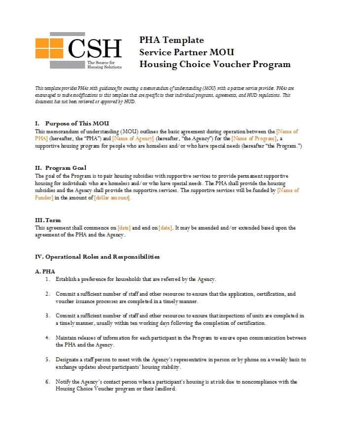Free Mou Agreement Template