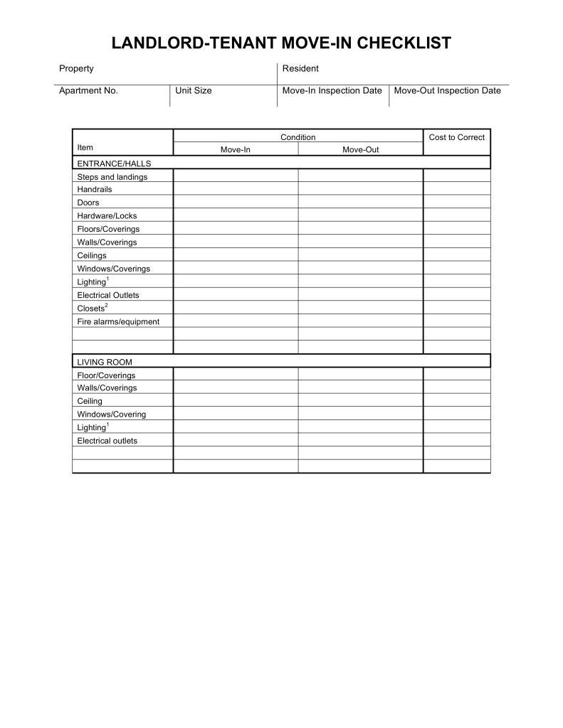 Free Move In Checklist Template